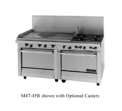 Garland / US Range M47-68S LP Master Series Heavy Duty Range 68 in Fry Top Griddle 2 Storage Bases LP Restaurant Supply