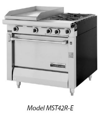Garland / US Range MST42-6S-E NG Master Sentry Series Range 34 in 2 Burners/Even Heat Hot Top Storage Base NG Restaurant Supply