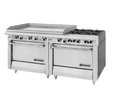 Garland / US Range MST47-68S-E LP Master Sentry Series Range 68 in Fry Top Manual Griddle 2 Storage Bases LP Restaurant Supply