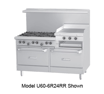 "Garland U606R24RRNG 60"" 6-Burner Gas Range with Griddle & Broiler, NG"