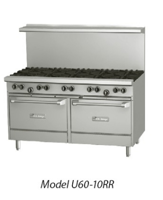 Garland / US Range U60-8G12RR LP 60 in U Series Restaurant Range 8 Burners Griddle 2 Standard Ovens LP Restaurant Supply