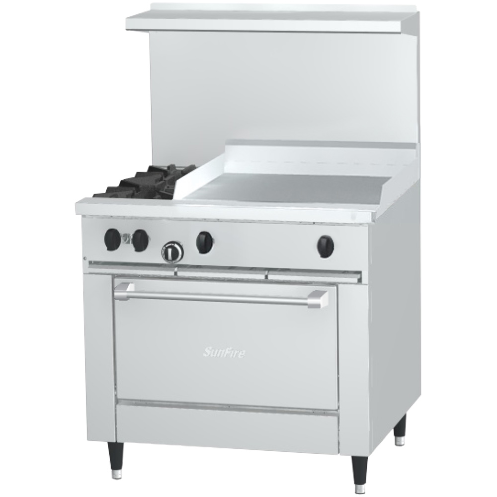 "Garland X36-2G24R-LP 36"" Sunfire 2-Burner Gas Range with Griddle, LP"