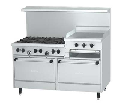 "Garland X606R24RRLP 60"" Sunfire 6-Burner Gas Range with Griddle & Broiler, LP"