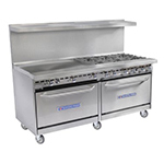 "Bakers Pride 60-BP-10B-S26 60"" 10-Burner Gas Range w/ (2) Standard Ovens, LP"