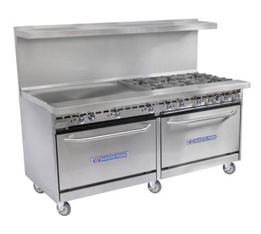 """Bakers Pride 60-BP-6B-G24-S26 60"""" 6-Burner Gas Range w/ 24"""" Griddle, (2) Standard Ovens, NG"""