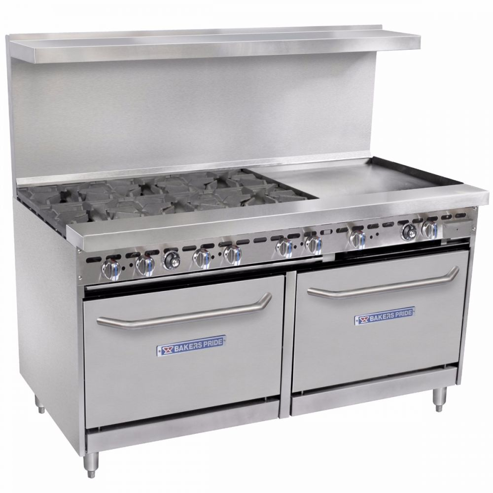 "Bakers Pride 60-BP-6B-RG24-S26 60"" 6-Burner Gas Range w/ Griddle, LP"