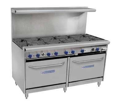 "Bakers Pride 60-BPV-10B-S26 60"" 10-Burner Gas Range w/ (2) Standard Ovens, LP"