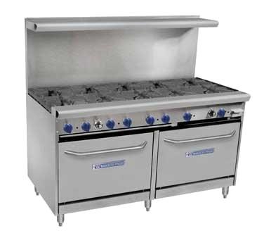 "Bakers Pride 60-BPV-10B-S26 60"" 10-Burner Gas Range w/ (2) Standard Ovens, NG"