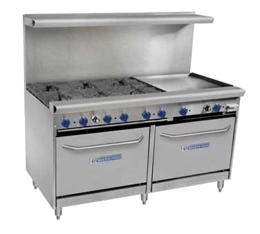 "Bakers Pride 60-BPV-6B-RG24-S26 60"" 6-Burner Gas Range w/ 24"" Raised Griddle, (2) Standard Ovens, LP"