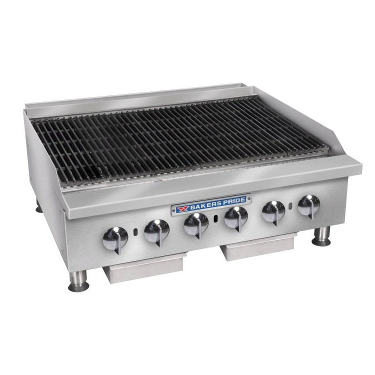 "Bakers Pride BPHCB-2436I 36"" Gas Charbroiler w/ Manual Controls & Steel Radiants, 120000-BTU, LP"