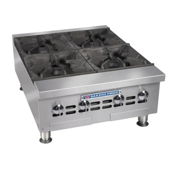"Bakers Pride BPHHP-424I 24"" Gas Hotplate - 4-Burners, Manual Controls, NG"