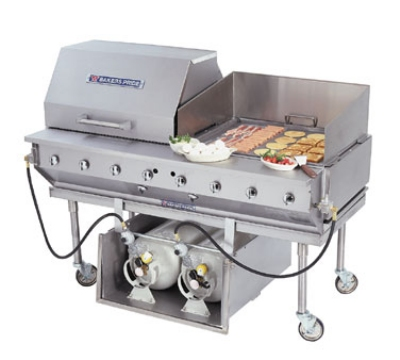 "Bakers Pride CBBQ-30S-CP 29"" Mobile Gas Commercial Outdoor Grill w/ Water Pans, LP"