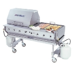 "Bakers Pride CBBQ-60S 58"" Mobile Gas Commercial Outdoor Grill w/ Water Pans, NG"