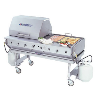 """Bakers Pride CBBQ-60S 58"""" Mobile Gas Commercial Outdoor Grill w/ Water Pans, NG"""