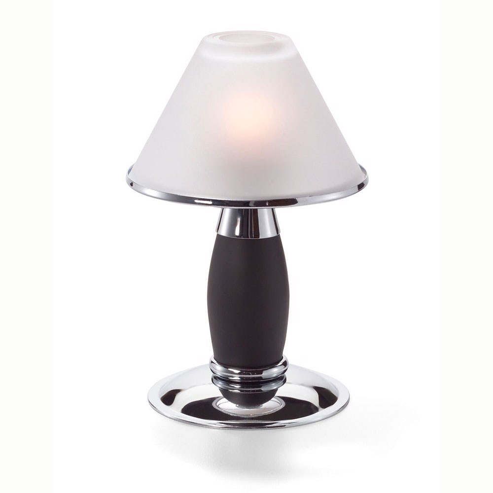 "Hollowick 046PC_B Tealight Candlestick Lamp w/ Petite Style, 4.75x7.75"", Chrome/Black"