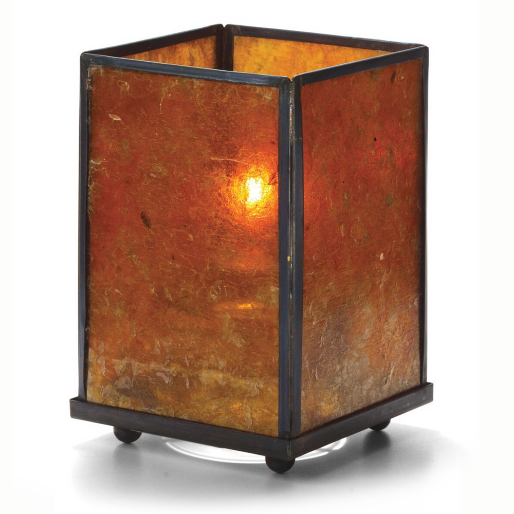 Hollowick 1400A Mica Panel Lamp, Amber, Square, 5-1/8 in H x 3-1/8 in W