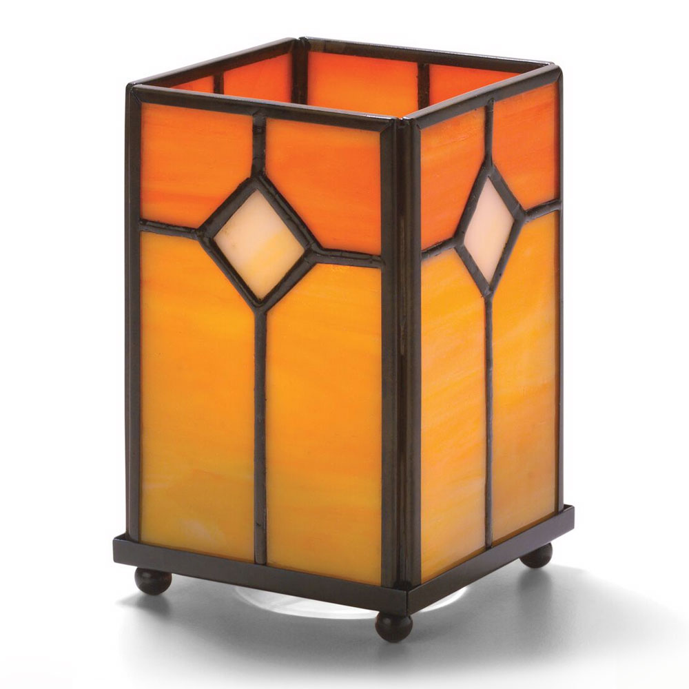 "Hollowick 1407OR Large Square Panel Lamp, 5-1/8"" H x 3-1/8"" W, Orange Stained Glass"