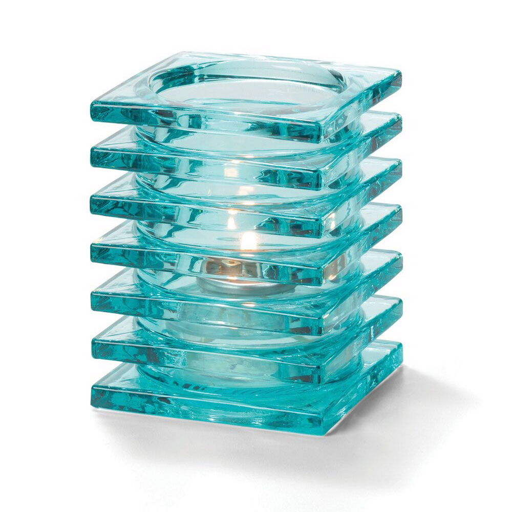 "Hollowick 1501AQ Square Stacked Glass Lamp for HD12, HD17, HD26, 2.88x3.75"", Aqua"