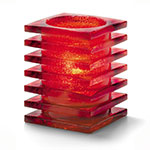 "Hollowick 1501RJ Square Stacked Glass Lamp for HD12, HD17, HD26, 2.88x3.75"", Ruby Jewel"