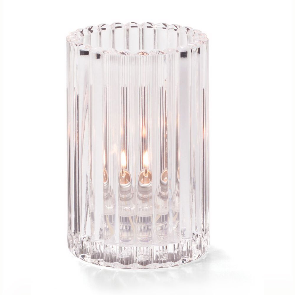 "Hollowick 1502C Vertical Glass Rod Lamp w/ Cylinder Shape, 2.88x4.63"", Glass, Clear"