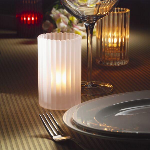 "Hollowick 1502SC Vertical Glass Rod Lamp w/ Cylinder Shape, 2.88x4.63"", Satin Crystal"