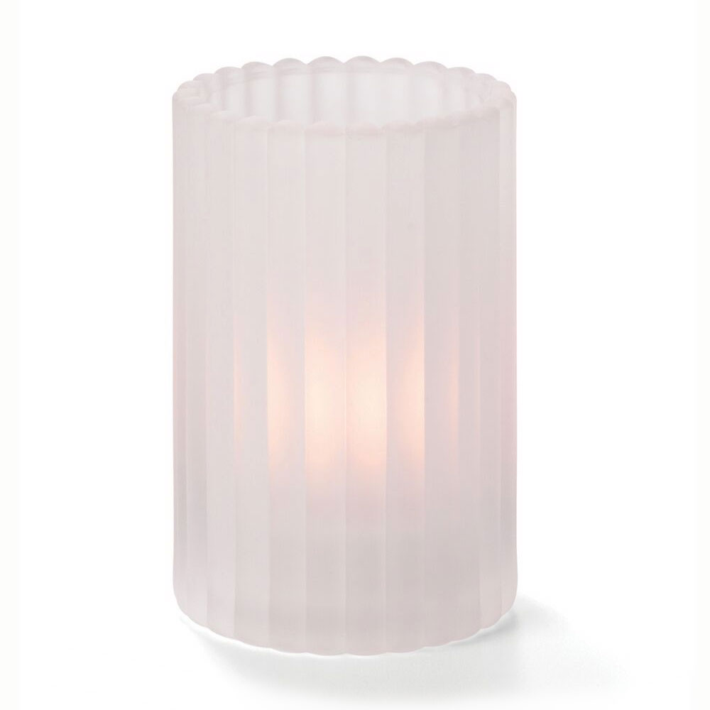 "Hollowick 1502SC Vertical Glass Rod Lamp w/ Cylinder Shape, 2.88x4.63"", Satin Crystal"