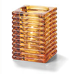 Hollowick 1511A Horizontal Rib Block Lamp, Amber, Glass, 4-1/8 in H x 2-7/8 in dia.