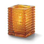 "Hollowick 1511AJ Horizontal Rib Glass Block Lamp, 4-1/8"" H x 2-7/8"" W, Amber Jewel"