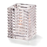 "Hollowick 1511C Horizontal Rib Glass Block Lamp, 4-1/8"" H x 2-7/8"" W, Clear"