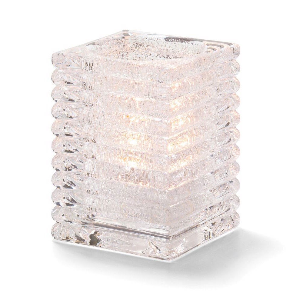 Hollowick 1511CJ Horizontal Rib Block Lamp, Clear Jewel, Glass, 4-1/8 in H x 2-7/8 in dia.