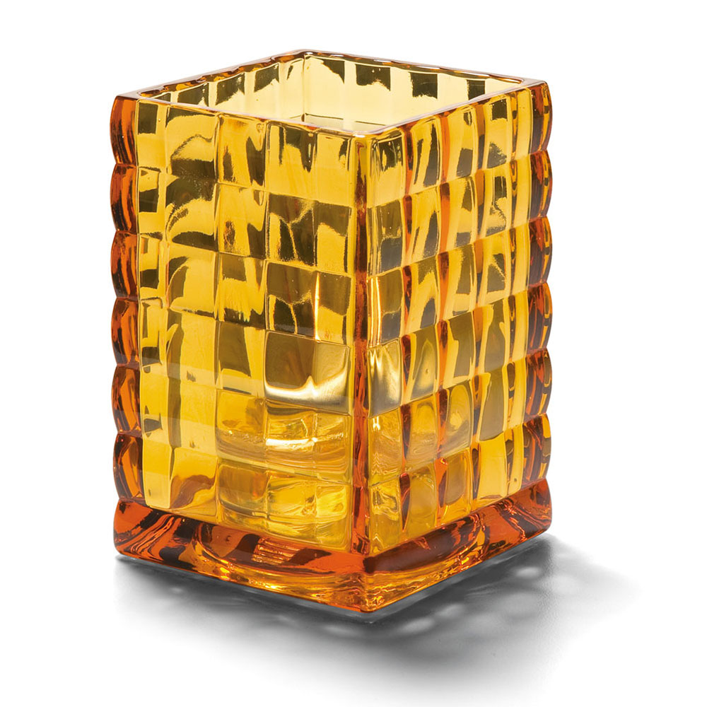 "Hollowick 1533A Square Optic Block Glass Lamp, 2-58""W x 3-3/4""H, Amber"