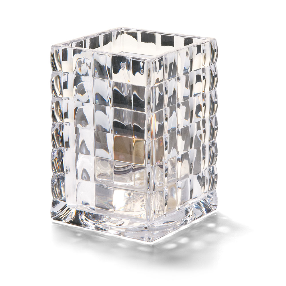 "Hollowick 1533C Square Optic Block Glass Lamp, 2-5/8""W x 3-3/4""H, Clear"