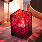 "Hollowick 1533R Square Optic Block Glass Lamp, 2-5/8""W x 3-3/4""H, Ruby"