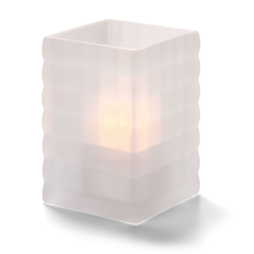"Hollowick 1533SC Square Optic Block Glass Lamp, 2-5/8""W x 3-3/4""H, Satin Crystal"