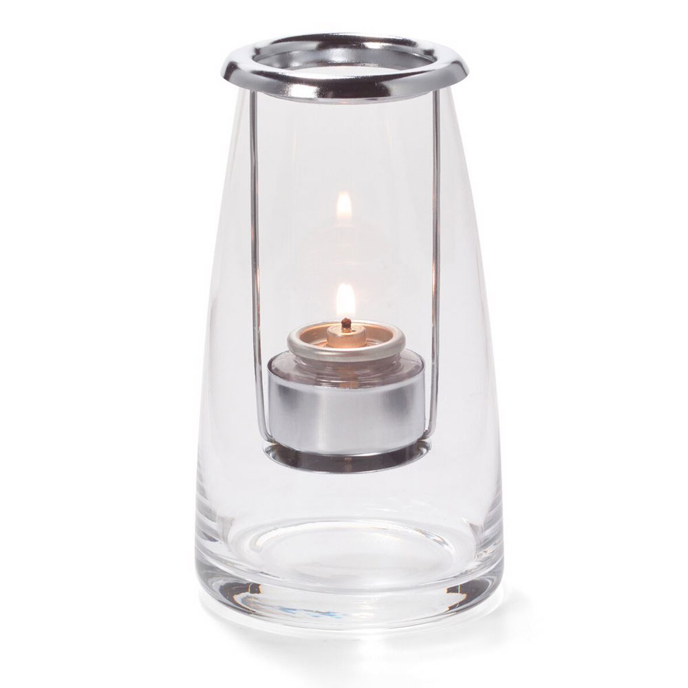 "Hollowick 1606C Lighthouse Lamp w/ Hanging Tealight Holder, 3.25x6"", Hand Blown Glass, Clear"