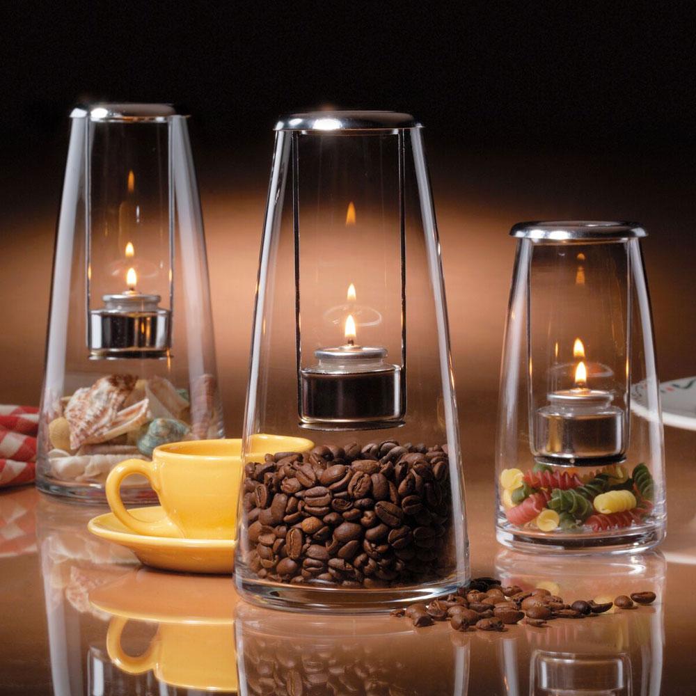 "Hollowick 1608C Lighthouse Lamp w/ Hanging Tealight Holder, 4x8.25"", Hand Blown Glass, Clear"