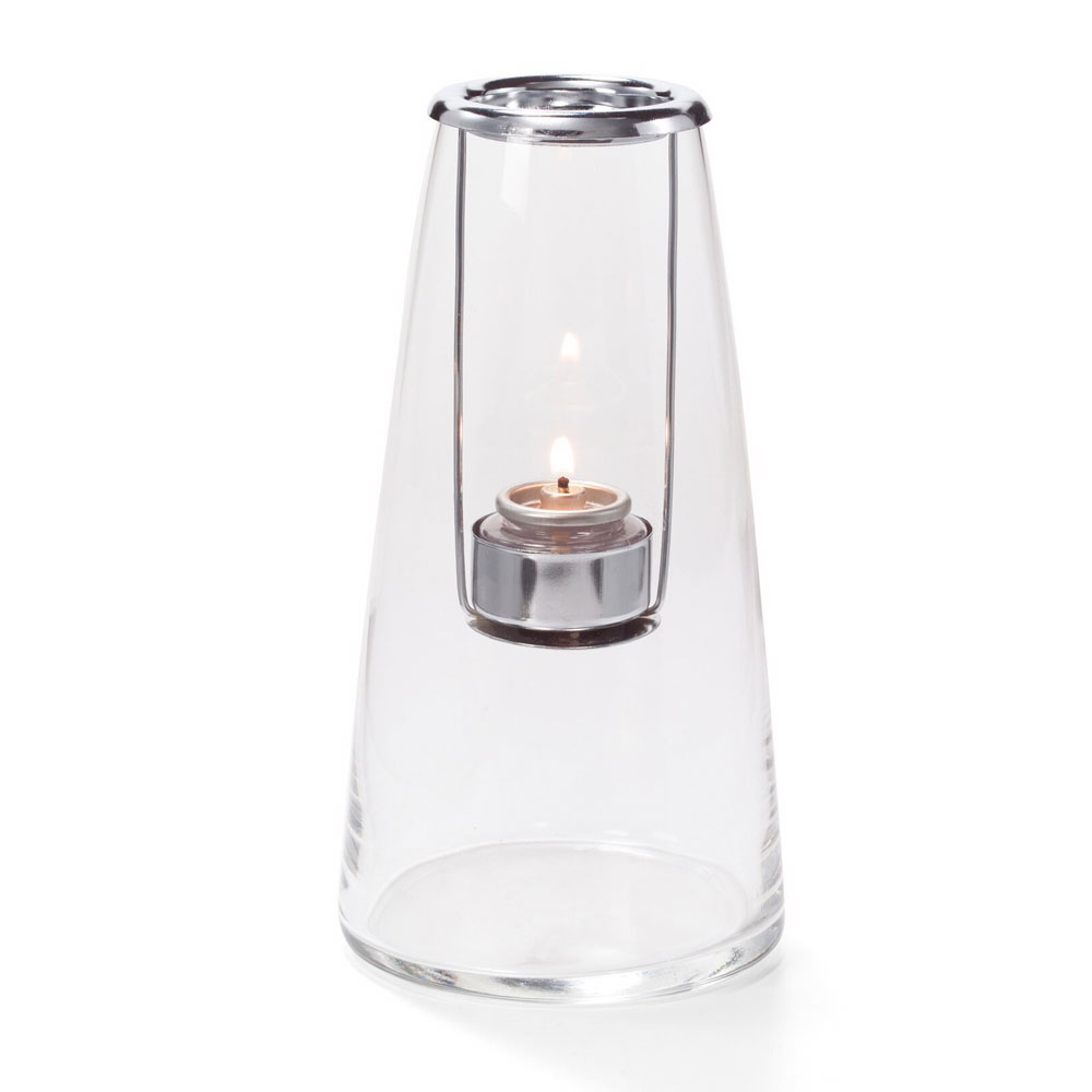 "Hollowick 1608C Lighthouse Lamp w/ Hanging Tealight Holder, 4x8.25"", Hand Blown Glass, Clear"