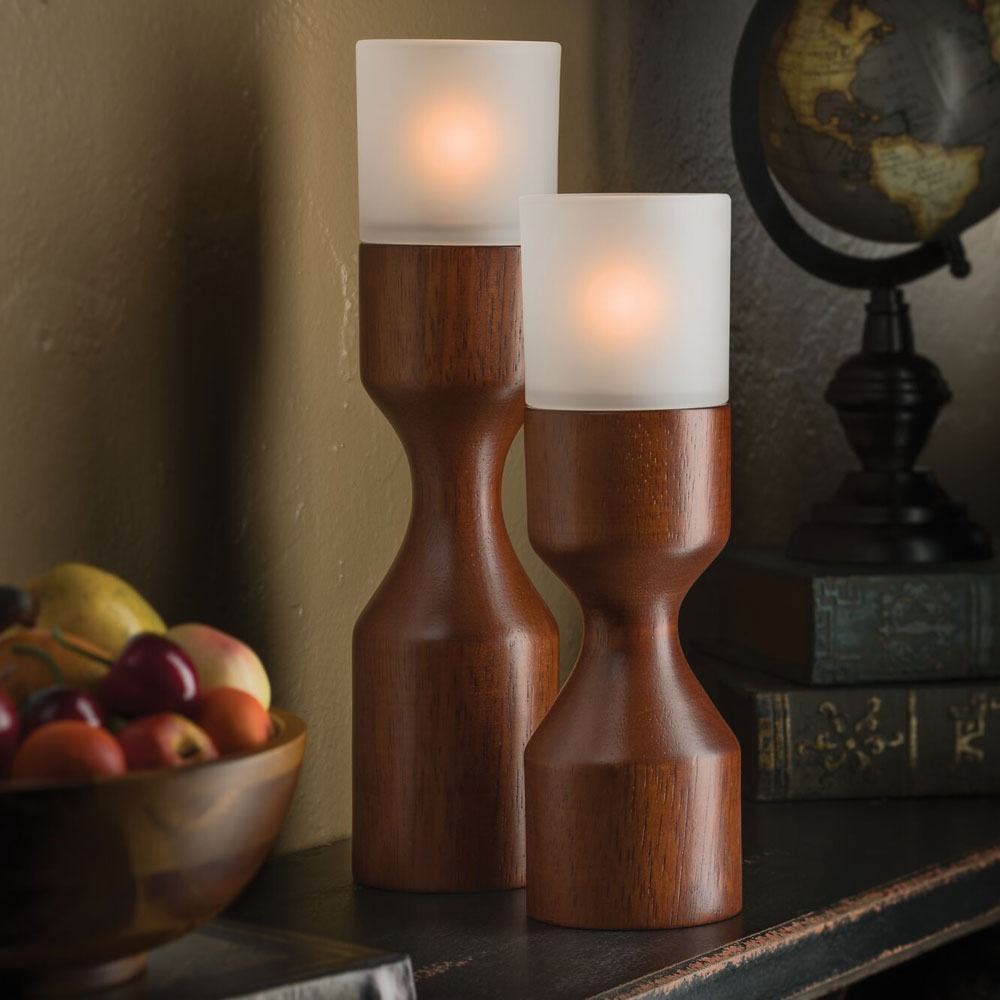 """Hollowick 2117 Denmark Candlestick Base for HD17 & HD26 Fuel Cells - 9"""" x 2.75"""", Wood"""