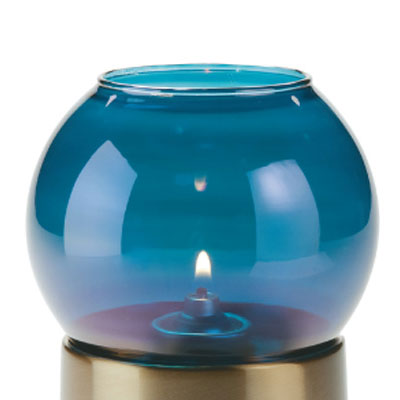 "Hollowick 35BL Fitter Globe w/ Bubble Style for 3"" Fitter Bases, 4x7.25x3"", Glass, Blue Lustre"