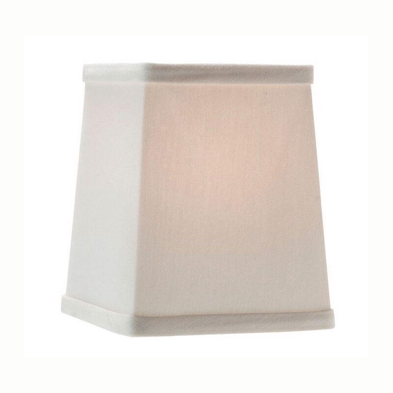 "Hollowick 393I Tapered Candlestick Shade w/ Square Shape, 4.75x4.25"", Fabric, Ivory"
