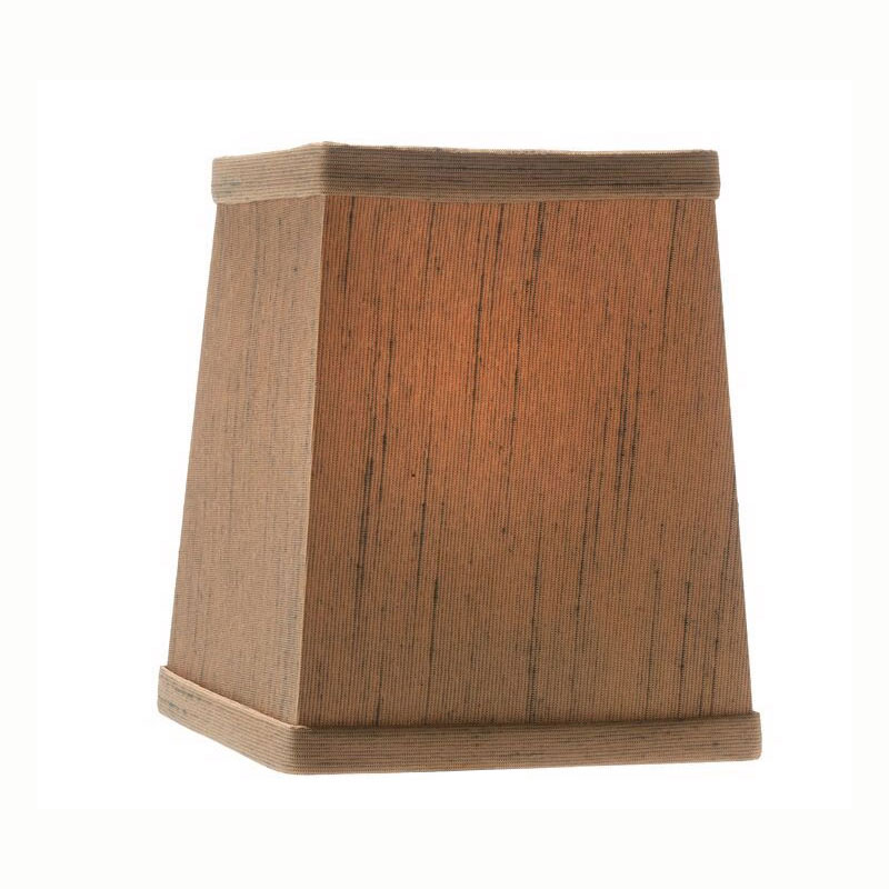 "Hollowick 393SW Tapered Candlestick Shade w/ Square Shape, 4.75x4.25"", Fabric, Sandlewood"