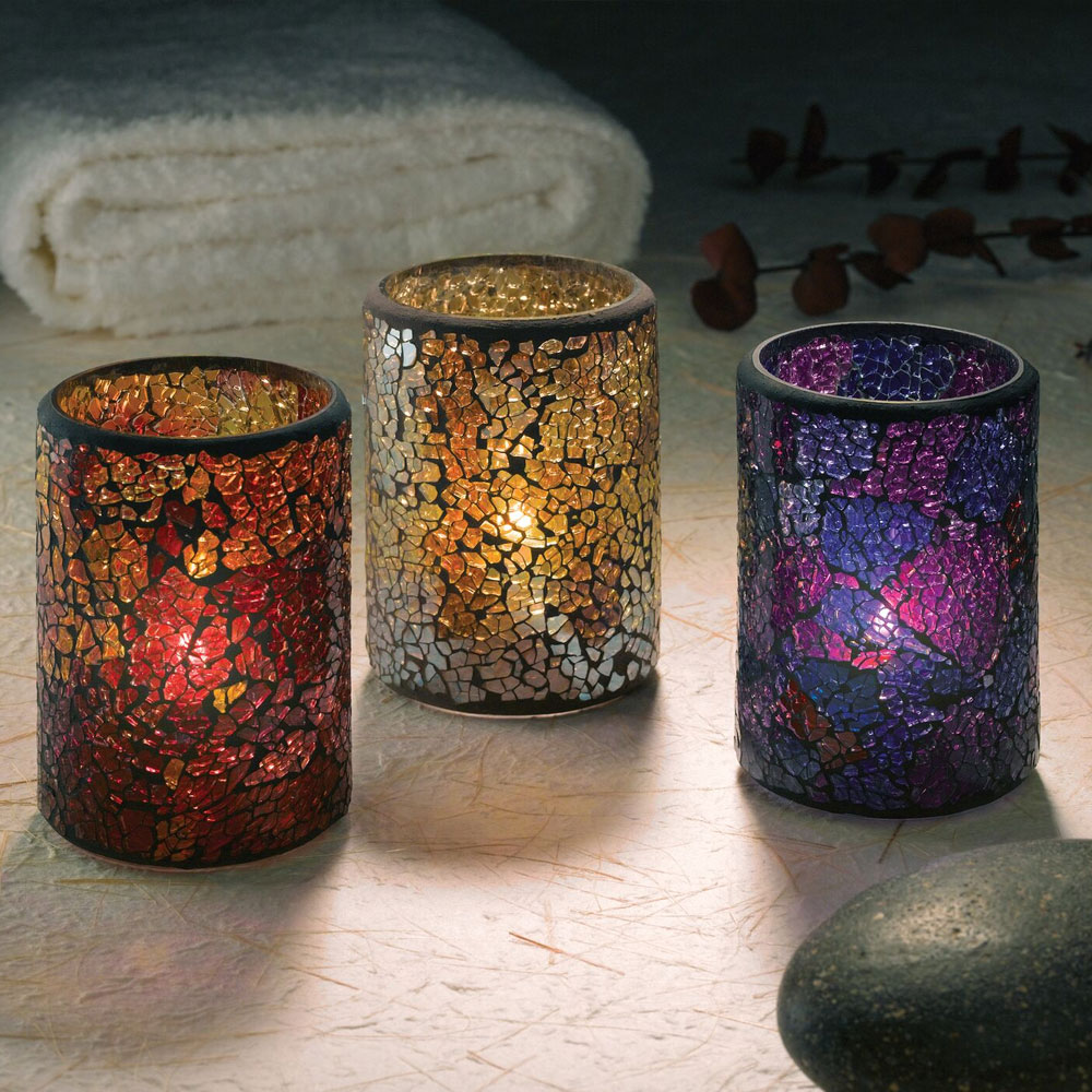 """Hollowick 43017BP Crackle Lamp w/ Cylinder Style for HD26 & HD12, 3.13x4.5"""", Glass, Blue/Purple"""