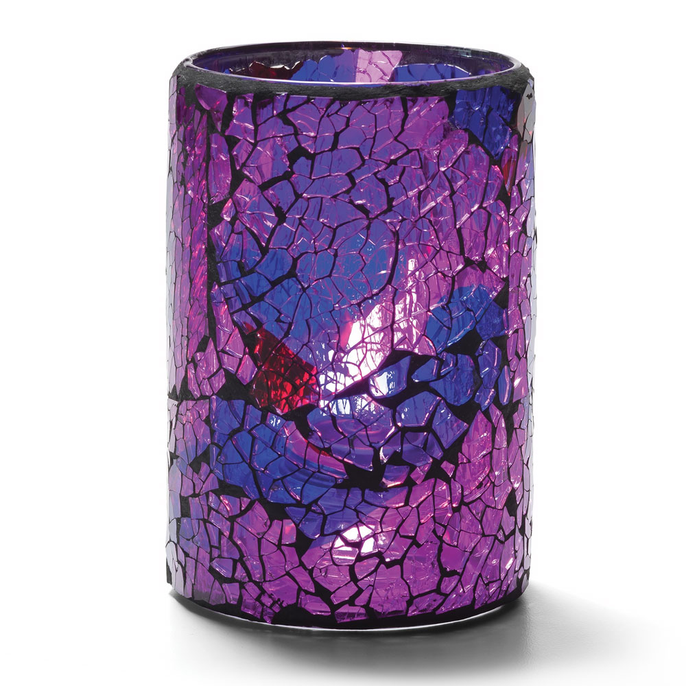 "Hollowick 43017BP Crackle Lamp w/ Cylinder Style for HD26 & HD12, 3.13x4.5"", Glass, Blue/Purple"