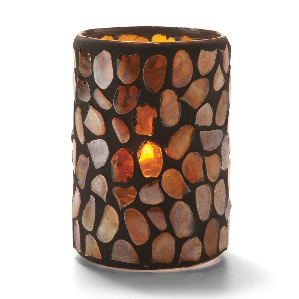 "Hollowick 46017A Pebble Cylinder, 4.38x3"", Glass, Amber Mosaic"