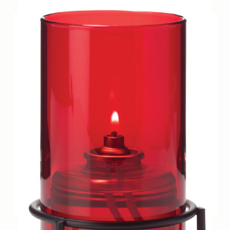 "Hollowick 48R Fitter Globe w/ Cylinder Style for 3"" Fitter Base, 5x3"", Glass, Ruby"