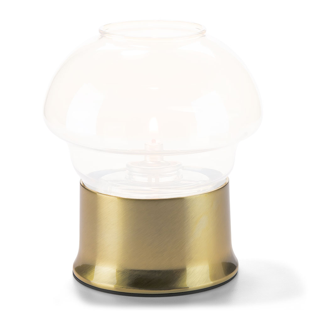 "Hollowick 502 Cocktail II Round Lamp Base for HD36 - 2"" x 3.63"", Satin Brass"