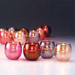 "Hollowick 5119G Tealight Lamp w/ Bubble Style, 2.63x2.38"", Glass, Gold"