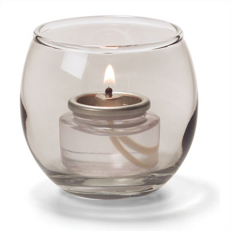 "Hollowick 5119S Tealight Lamp w/ Bubble Style, 2.63x2.38"", Glass, Smoke Lustre"