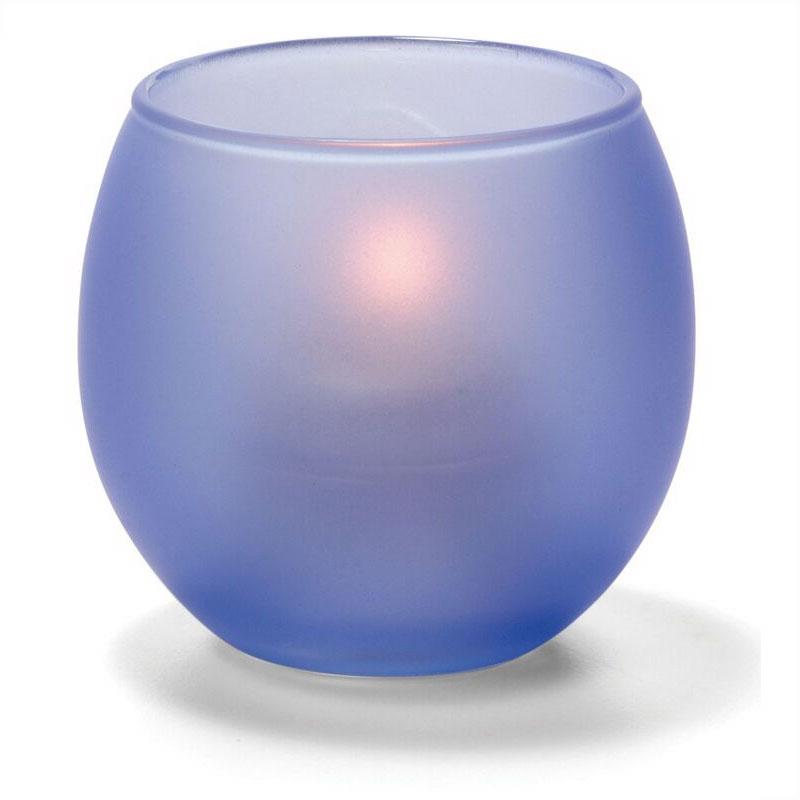 "Hollowick 5119SDB Tealight Lamp w/ Bubble Style, 2.63x2.38"", Glass, Satin Dark Blue"