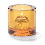 "Hollowick 5140A Tealight Glass Lamp, Amber, Thick Glass, 2-7/8""H x 2-3/4""dia."